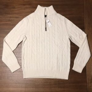 NWT Banana Republic 1/4 zip up Cable Knit Sweater